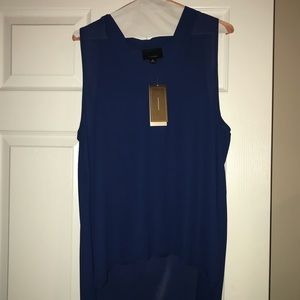 Tops - Blue sleeveless hi-low blouse